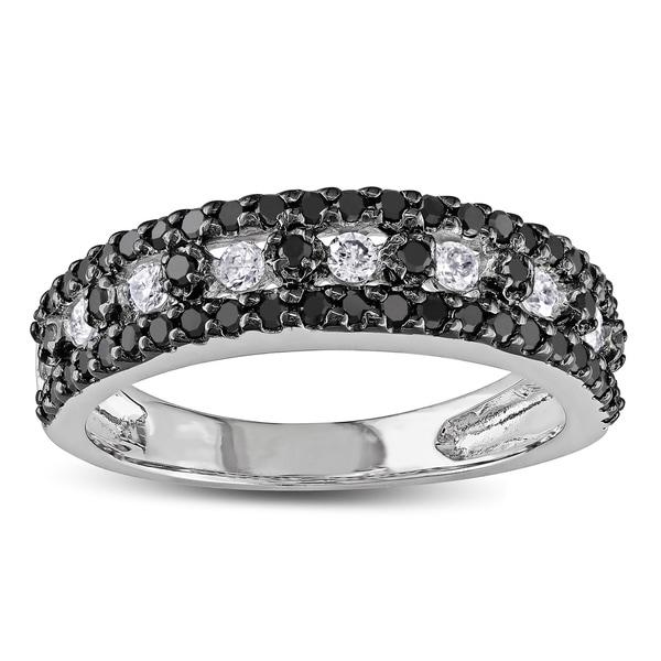 Miadora 10k White Gold 3/4ct TDW Black and White Diamond Ring (I-J, I2-I3)