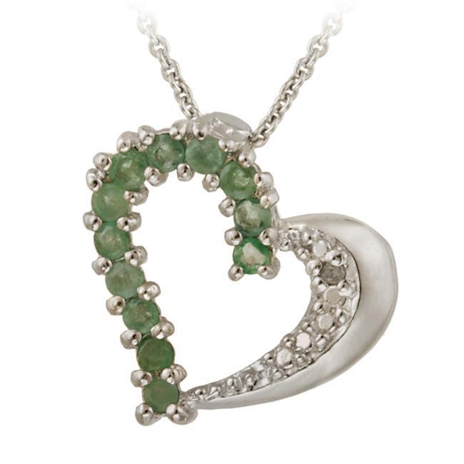 Glitzy Rocks Sterling Silver Emerald and Diamond Accent Heart Necklace