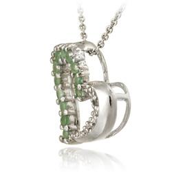 Glitzy Rocks Sterling Silver Emerald and Diamond Accent Heart Necklace