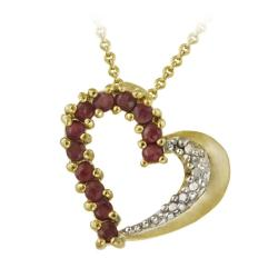 Glitzy Rocks 18k Gold over Silver Ruby and Diamond Heart Necklace