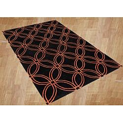 Alliyah Handmade Black and Tigerlily Intersecting Circles New Zealand Blend Wool Rug