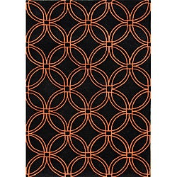 Alliyah Handmade Black New Zealand Blend Wool Rug