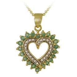 Glitzy Rocks 18k Gold over Silver Emerald and Diamond Heart Necklace