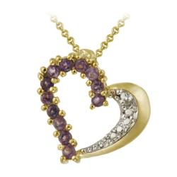 Glitzy Rocks 18k Gold over Sterling Silver Amethyst and Diamond Heart Necklace