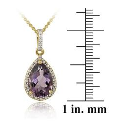Glitzy Rocks 18k Gold over Silver Amethyst and Diamond Accent Necklace