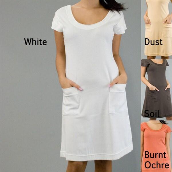 AtoZ Women's Cotton Cap-sleeve Dress