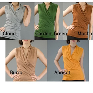 AtoZ Women's Cotton V-Neck Sleeveless Wrap Top