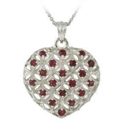 Glitzy Rocks Sterling Silver Ruby Open Heart Necklace
