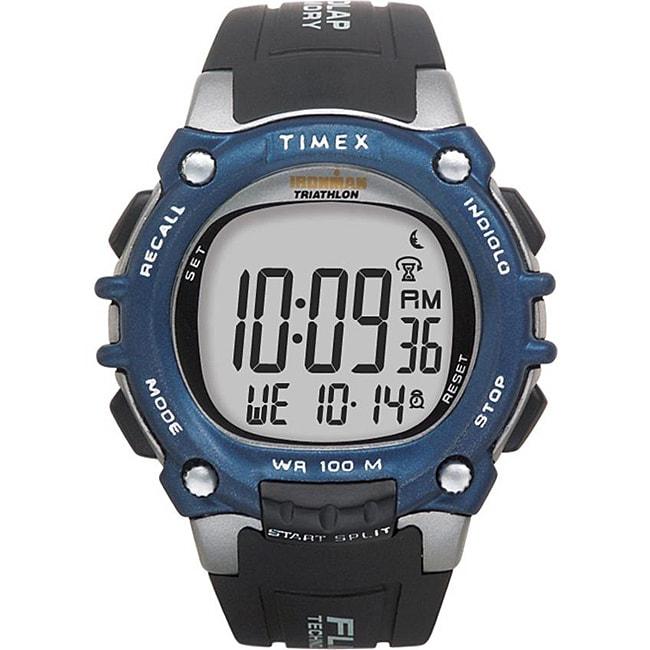 Timex T5E2419J Men's Ironman Traditional 100-lap Black/ Silvertone/ Blue Watch