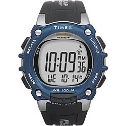 Timex Men's T5E241 Ironman Traditional 100-Lap Black/Silvertone/Blue Watch