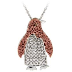 DB Designs Rose Gold over Silver Champagne Diamond Penguin Necklace