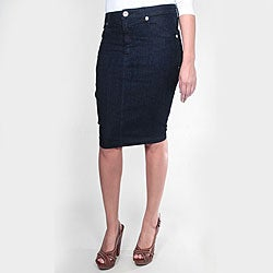 Tabeez Women's Dark Blue Denim Pencil Skirt