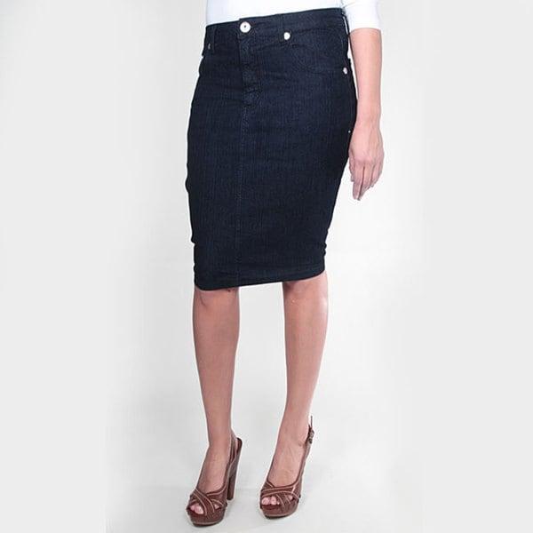 Tabeez Women's Dark Blue Denim Pencil Skirt