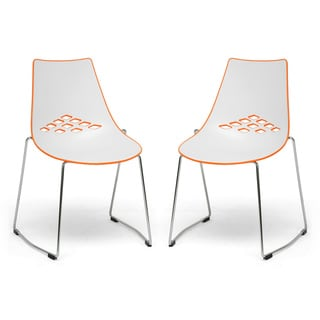 Jupiter White and Orange Plastic Modern Dining Chairs (Set of 2)