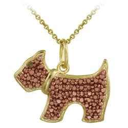 DB Designs 18k Two-tone Gold Silver Champagne Diamond Dog Necklace