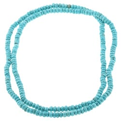 DaVonna Blue Turquoise Howlite Roundel 36-inch Endless Necklace (5-6 mm)