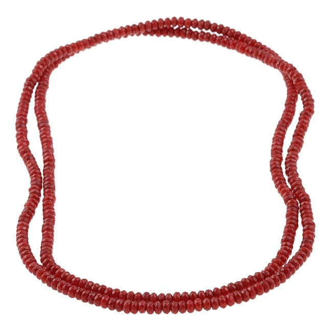 DaVonna Red Coral Roundel 36-inch Endless Necklace (4-5 mm)