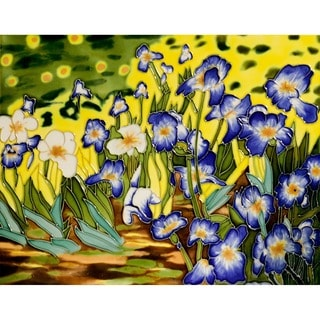 Hand-carved Van Gogh 'Irises' Trivet/Wall Accent Tile