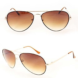 SWG Men's 385B Brown Metal Aviator Sunglasses