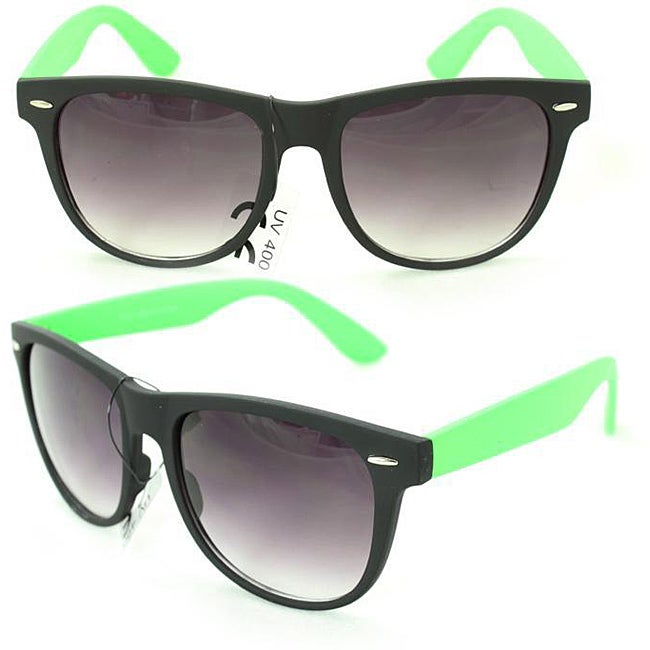 Men's 350C Black/ Green Plastic Fashion Sunglasses