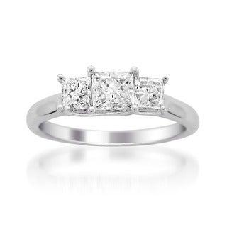Montebello 14k White Gold 1ct TDW 3-stone Diamond Ring (G-H, SI1)