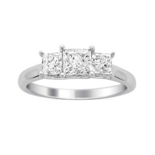 14k White Gold 1 1/2ct TDW Diamond 3-stone Engagement Ring (H-I, I2)