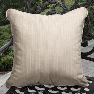 Clara Outdoor Textured Sand Beige Throw Pillows Made with Sunbrella (Set of 2)