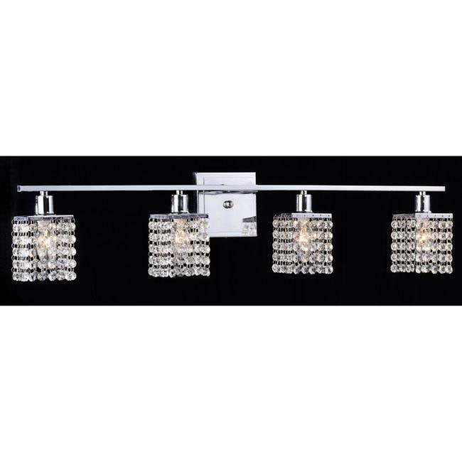 4 Light Chrome Crystal Wall Sconce Lighting Sconces Fixture Bathroom Deco Glass Ebay