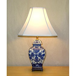 Blue and White Mum Square Temple Jar Table Lamp