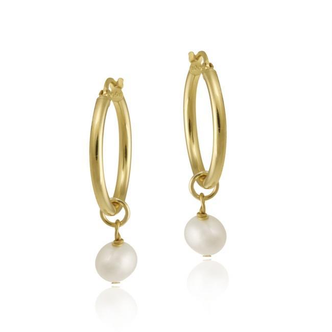 Glitzy Rocks 18k Gold over Silver Freshwater Pearl Dangle Earrings (6-7 mm)