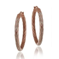 Mondevio Two-tone Gold over Sterling Silver Diamond-cut Hoop Earrings