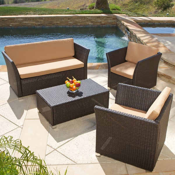 brown 4 piece wicker patio furniture sofa set outdoor pool