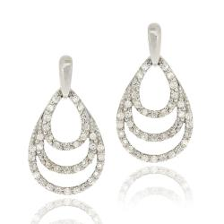 Icz Stonez Sterling Silver Cubic Zirconia Teardrop Earrings