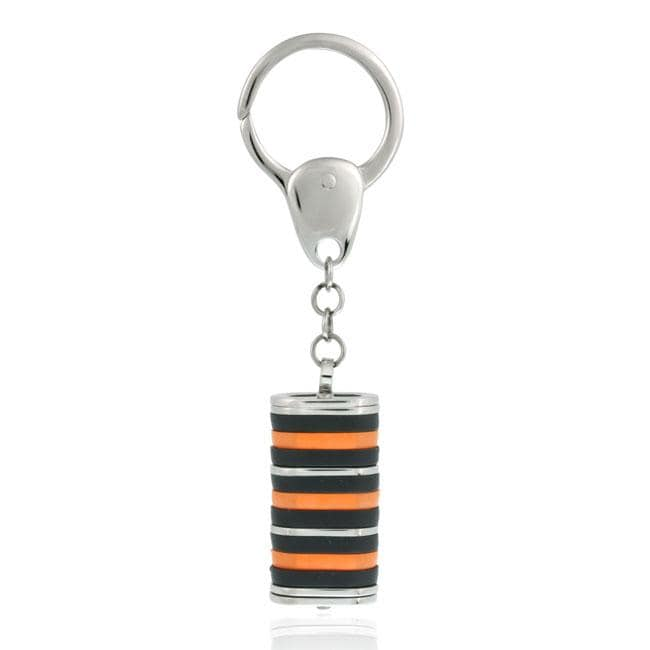 Mondevio Stainless Steel Black and Orange Rectangle-shaped Key Ring