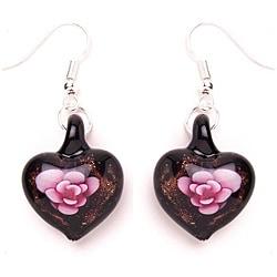 Murano-inspired Glass Pink and Black Flower Heart Earrings