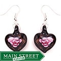 Murano-inspired Glass Pink and Black Flower Heart Earrings
