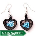 Murano-inspired Glass Blue and Black Flower Heart Earrings