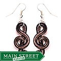 Murano-inspired Glass Gold and Black Music Note Earrings