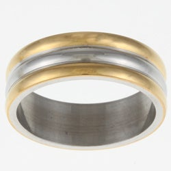 Stainless Steel GoldTone Ribbed Band