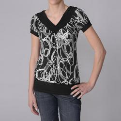 Journee Collection Women's Circular Print Stretch Knit Top