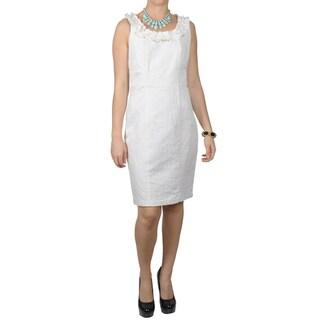 Sangria Women's Beaded Neckline Filigree Pattern Sleeveless Dress