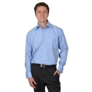 Boston Traveler Men's Blue Wrinkle-Free French Cuff Dress Shirt