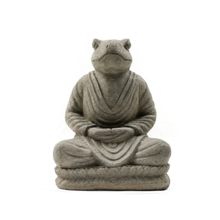 Volcanic Ash Black Meditating Frog Statue (Indonesia)