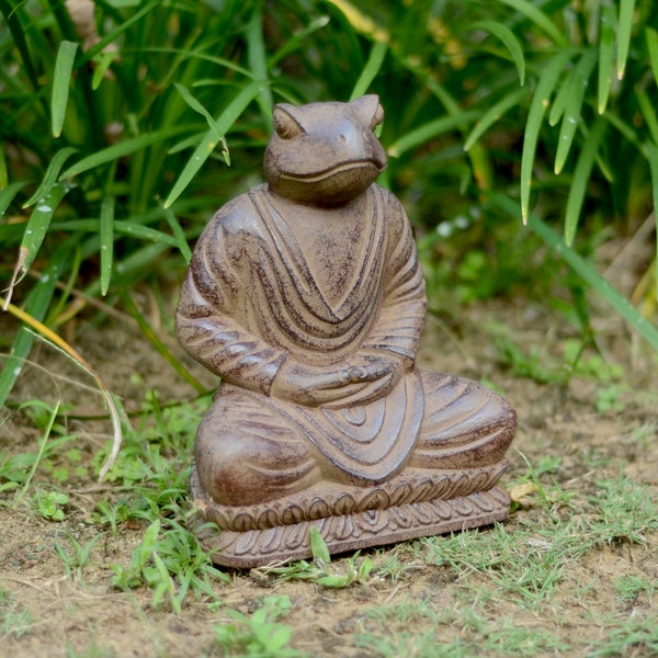 Volcanic Ash Black Meditating Frog Statue, Handmade in Indonesia