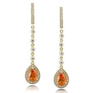 Annello 18k Yellow Gold Citrine and 3/4ct TDW Diamond Earrings (G-H, VS1-VS2)