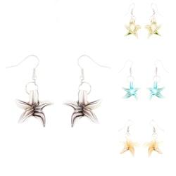 Murano-inspired Glass Green and White Star Earrings