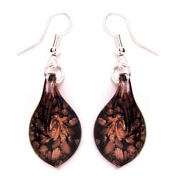 Bleek2Sheek Murano-inspired Glass Gold and Black Teardrop Earrings