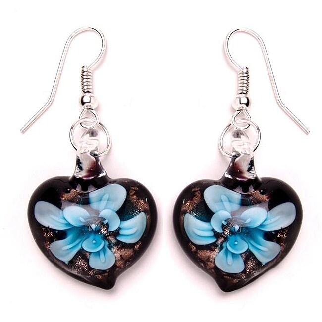 Murano-inspired Glass Blue and Black Heart Earrings