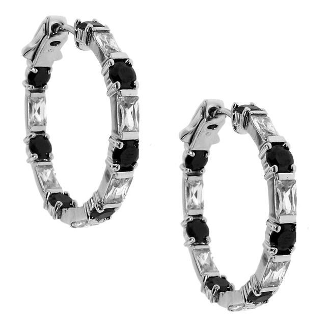 Sterling Silver Black and White Cubic Zirconia Hoop Earrings