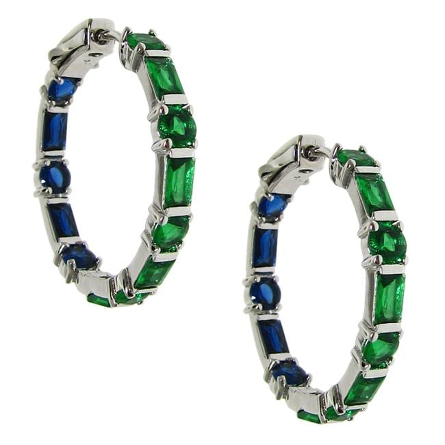 Sterling Silver Green and Dark Blue Cubic Zirconia Hoop Earrings